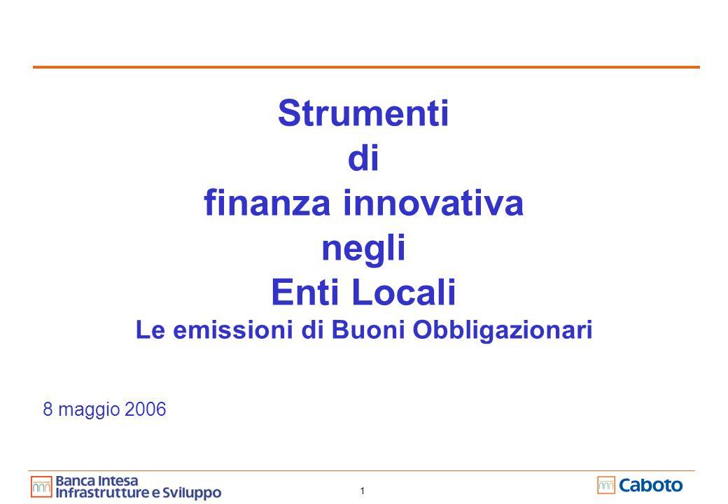 1 Strumenti di finanza innovativa negli Enti Locali Le emissioni di Buoni Obbligazionari 8 maggio 2006