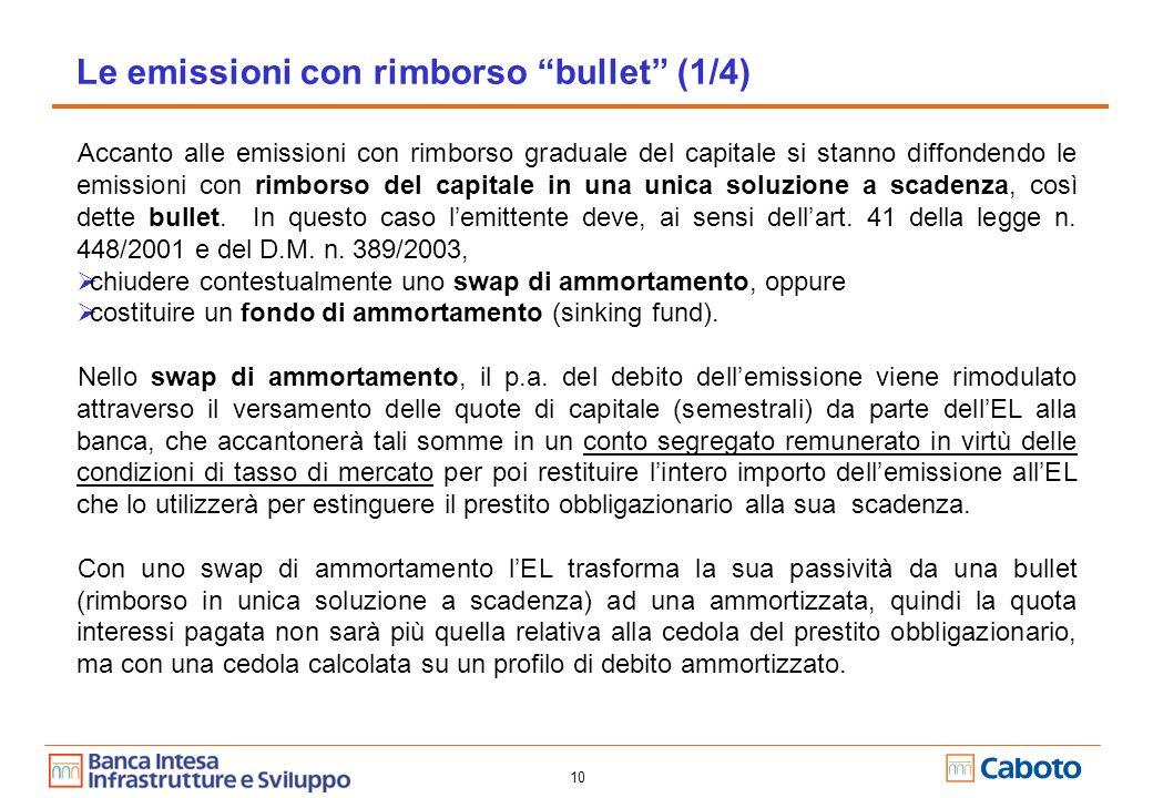 10 Accanto alle emissioni con rimborso graduale del capitale si stanno diffondendo le emissioni con rimborso del capitale in una unica soluzione a scadenza, così dette bullet.