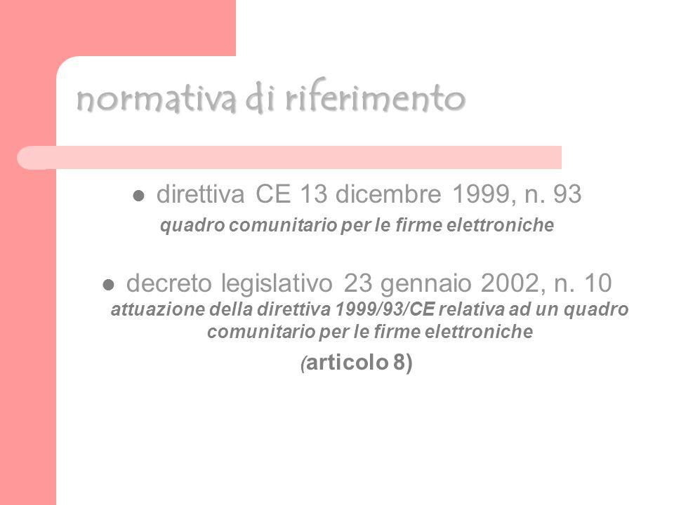 normativa di riferimento direttiva CE 13 dicembre 1999, n.