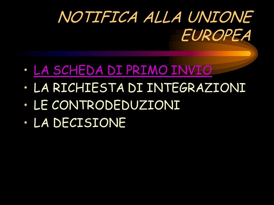 NOTIFICA ALLA UNIONE EUROPEA LA SCHEDA DI PRIMO INVIO LA RICHIESTA DI INTEGRAZIONI LE CONTRODEDUZIONI LA DECISIONE