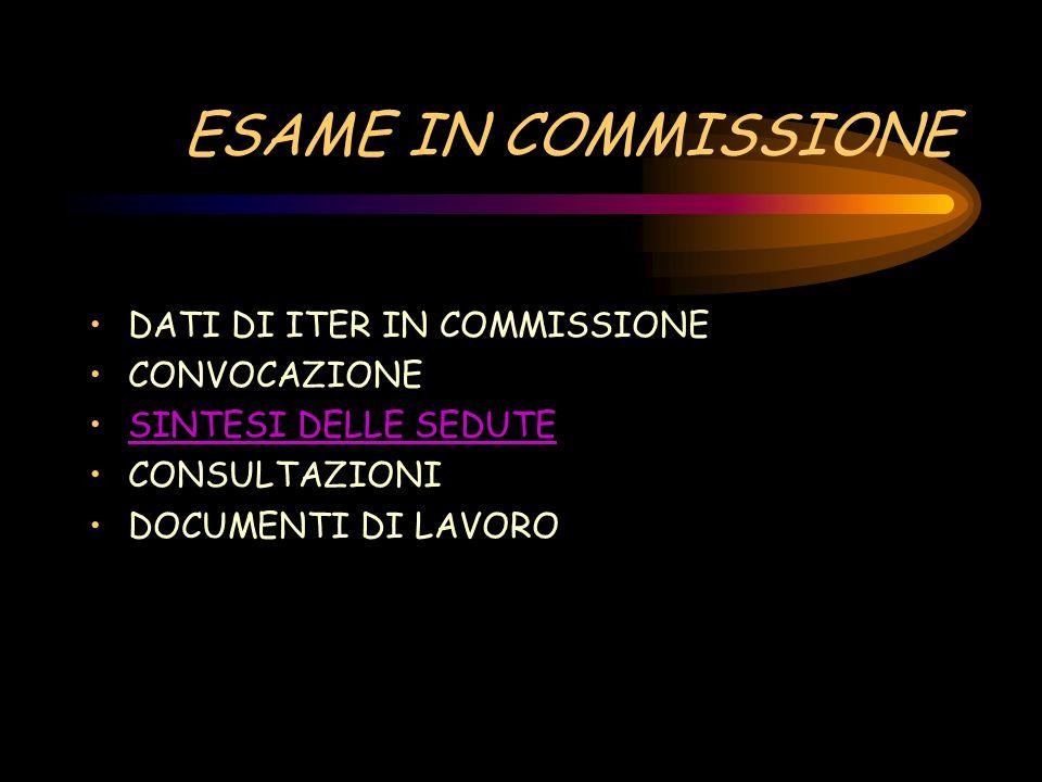 ESAME IN COMMISSIONE DATI DI ITER IN COMMISSIONE CONVOCAZIONE SINTESI DELLE SEDUTE CONSULTAZIONI DOCUMENTI DI LAVORO