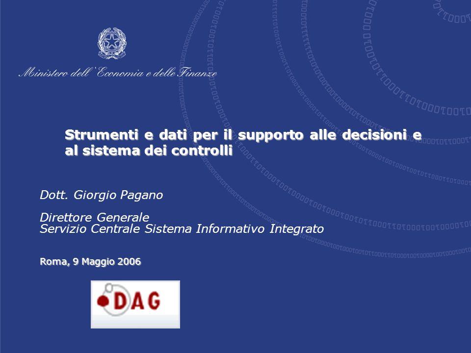 Strumenti e dati per il supporto alle decisioni e al sistema dei controlli Roma, 9 Maggio 2006 Dott.
