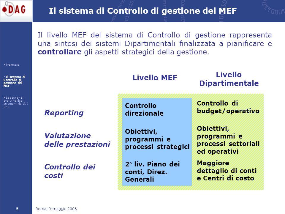 Roma, 9 maggio 20065 Il livello MEF del sistema di Controllo di gestione rappresenta una sintesi dei sistemi Dipartimentali finalizzata a pianificare e controllare gli aspetti strategici della gestione.