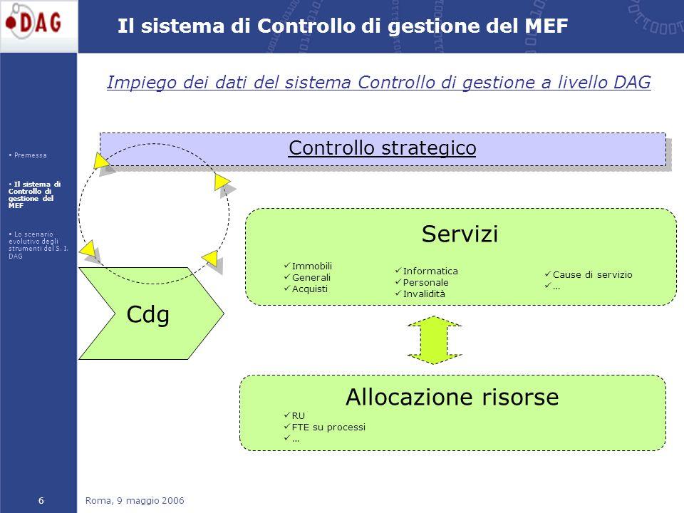 Roma, 9 maggio 20067 Il sistema di Controllo di gestione del MEF Il sistema di Controllo di gestione, a seguito dellintegrazione sempre più spinta con i sistemi, acquisisce caratteristiche di affidabilità che potrebbero renderlo fonte alimentante per la Contabilità Economica ed il SICO.