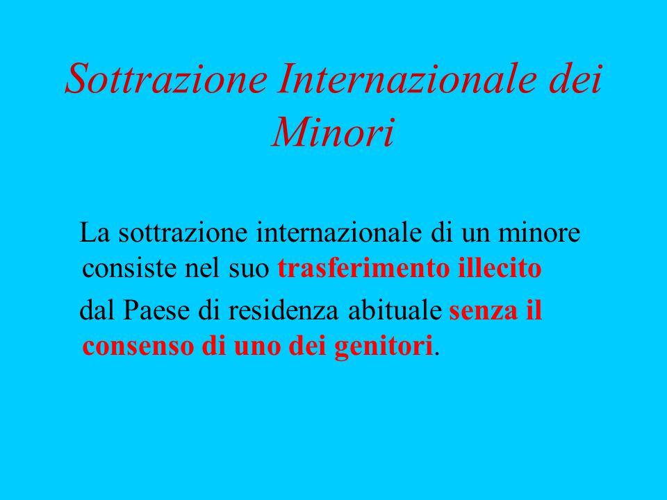 Sottrazione Internazionale dei Minori La sottrazione internazionale di un minore consiste nel suo trasferimento illecito dal Paese di residenza abitua