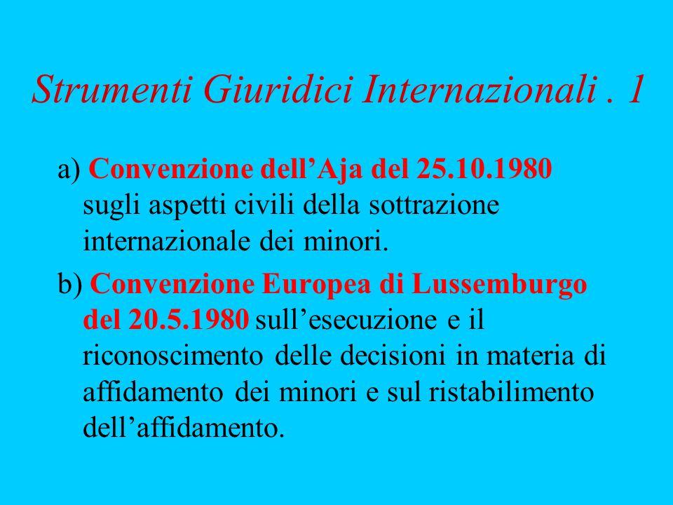 Strumenti Giuridici Internazionali. 1 a) Convenzione dellAja del 25.10.1980 sugli aspetti civili della sottrazione internazionale dei minori. b) Conve