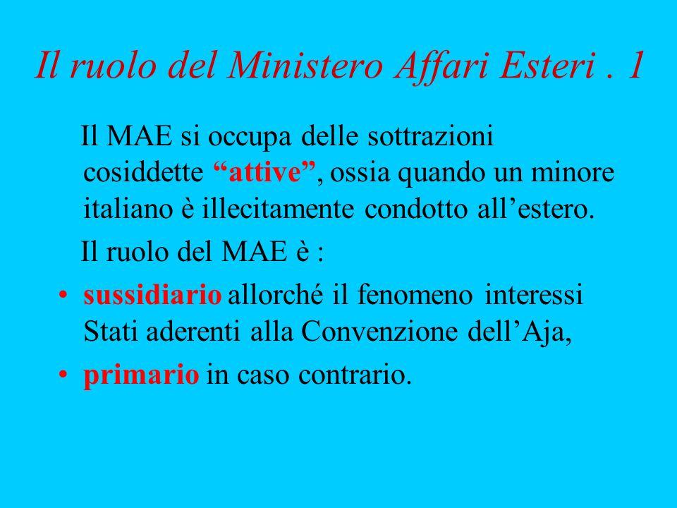 Il ruolo del Ministero Affari Esteri. 1 Il MAE si occupa delle sottrazioni cosiddette attive, ossia quando un minore italiano è illecitamente condotto