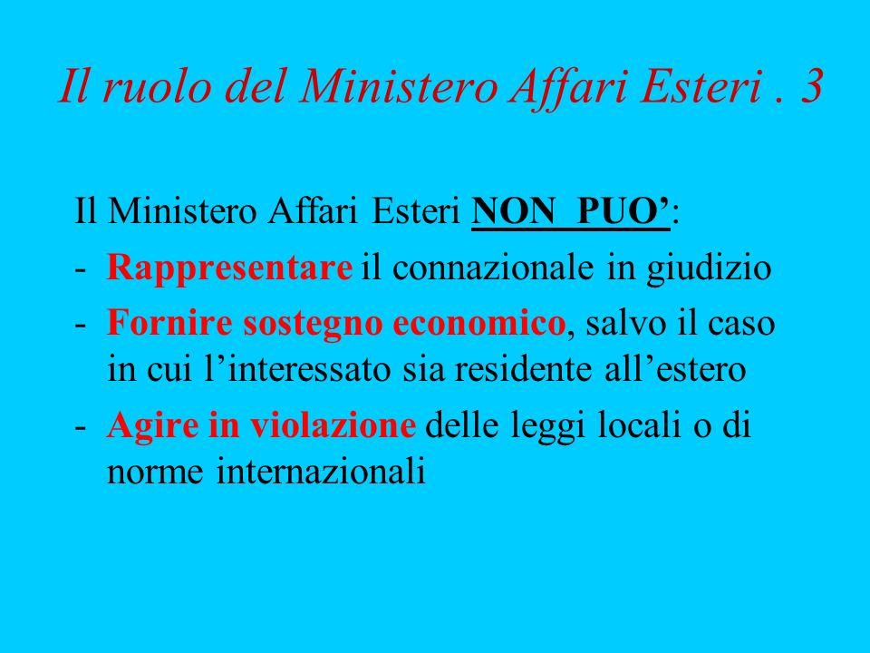 Il ruolo del Ministero Affari Esteri. 3 Il Ministero Affari Esteri NON PUO: - Rappresentare il connazionale in giudizio - Fornire sostegno economico,