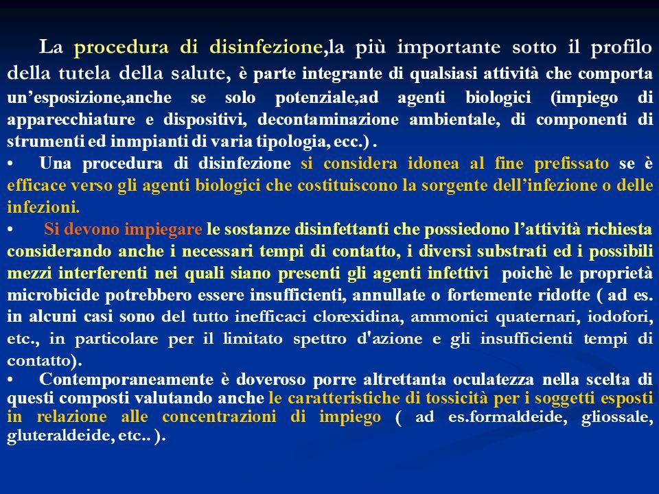 La procedura di disinfezione,la più importante sotto il profilo della tutela della salute, è parte integrante di qualsiasi attività che comporta unesp