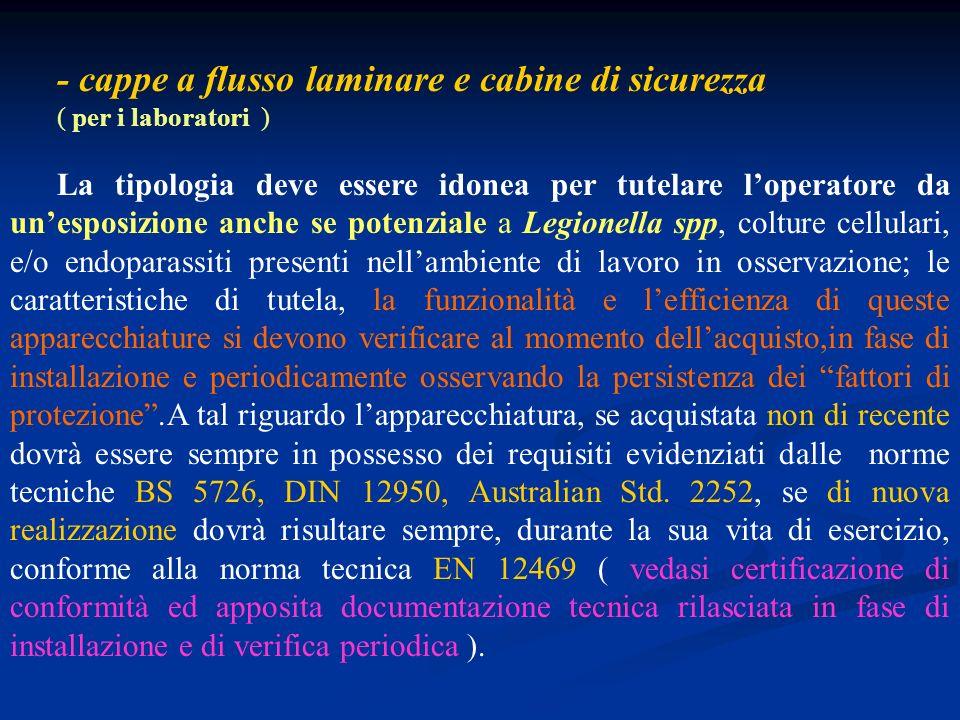 - cappe a flusso laminare e cabine di sicurezza ( per i laboratori ) La tipologia deve essere idonea per tutelare loperatore da unesposizione anche se