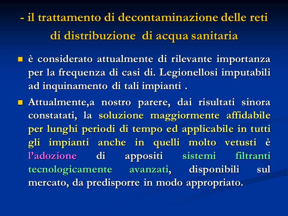 - il trattamento di decontaminazione delle reti di distribuzione di acqua sanitaria è considerato attualmente di rilevante importanza per la frequenza