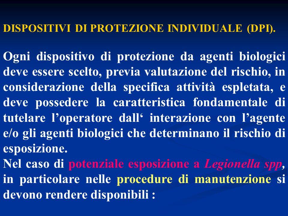 DISPOSITIVI DI PROTEZIONE INDIVIDUALE (DPI). Ogni dispositivo di protezione da agenti biologici deve essere scelto, previa valutazione del rischio, in