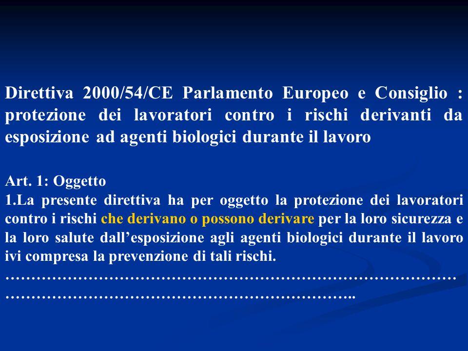 Direttiva 2000/54/CE Parlamento Europeo e Consiglio : protezione dei lavoratori contro i rischi derivanti da esposizione ad agenti biologici durante il lavoro La presente Direttiva si applica alle attività nelle quali i lavoratori sono o possono essere esposti ad agenti biologici a causa della loro attività professionale.