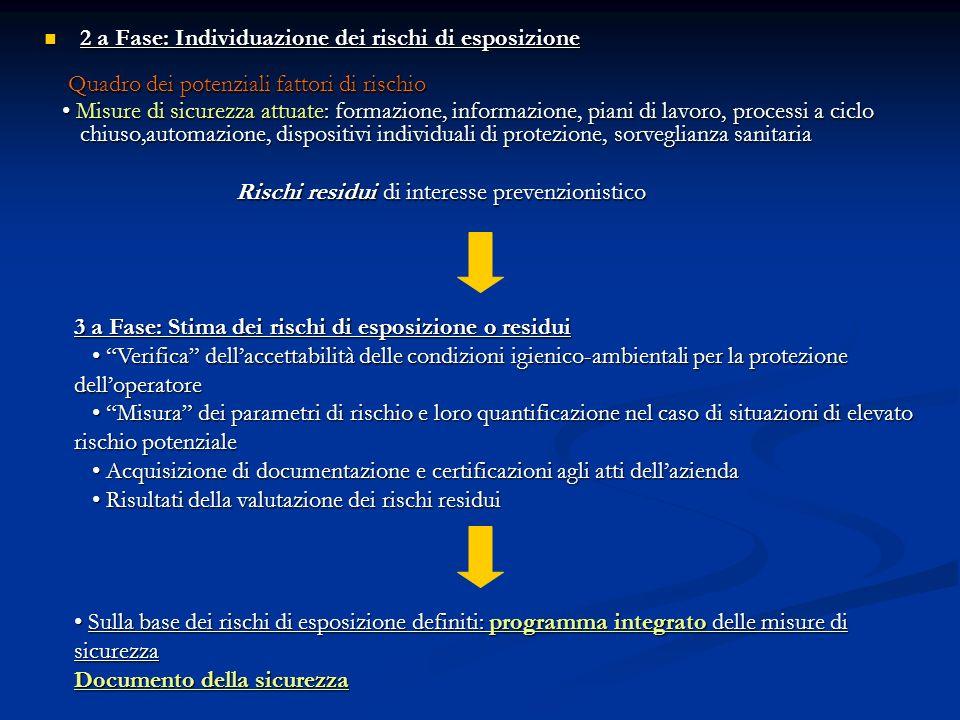 2 a Fase: Individuazione dei rischi di esposizione 2 a Fase: Individuazione dei rischi di esposizione Quadro dei potenziali fattori di rischio Quadro