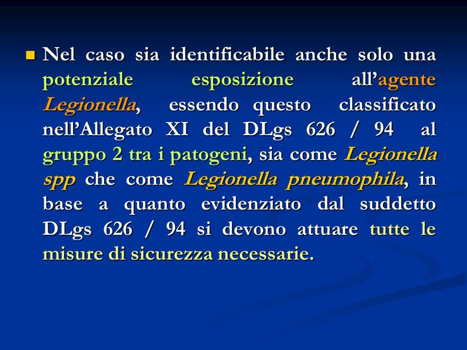 Nel caso sia identificabile anche solo una potenziale esposizione allagente Legionella, essendo questo classificato nellAllegato XI del DLgs 626 / 94