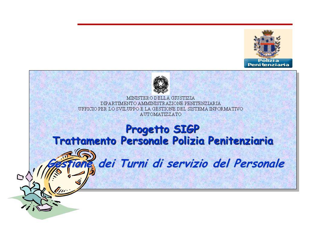 Progetto SIGP Trattamento Personale Polizia Penitenziaria Gestione dei Turni di servizio del Personale