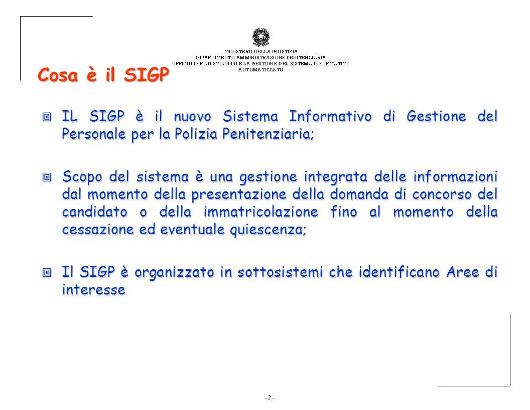 - 2 - Cosa è il SIGP IL SIGP è il nuovo Sistema Informativo di Gestione del Personale per la Polizia Penitenziaria; IL SIGP è il nuovo Sistema Informa