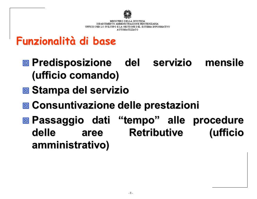 - 6 - Funzionalità di base Predisposizione del servizio mensile (ufficio comando) Predisposizione del servizio mensile (ufficio comando) Stampa del se