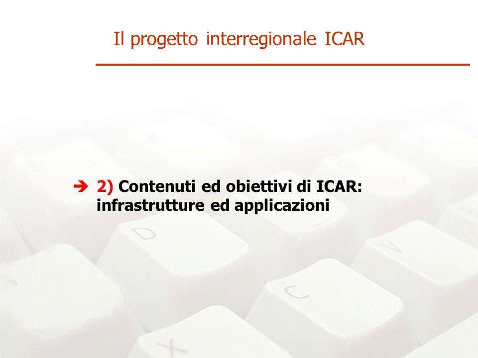 2) Contenuti ed obiettivi di ICAR: infrastrutture ed applicazioni Il progetto interregionale ICAR