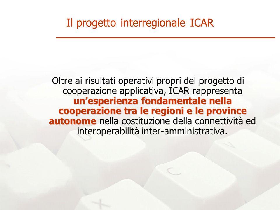 unesperienza fondamentale nella cooperazione tra le regioni e le province autonome Oltre ai risultati operativi propri del progetto di cooperazione applicativa, ICAR rappresenta unesperienza fondamentale nella cooperazione tra le regioni e le province autonome nella costituzione della connettività ed interoperabilità inter-amministrativa.