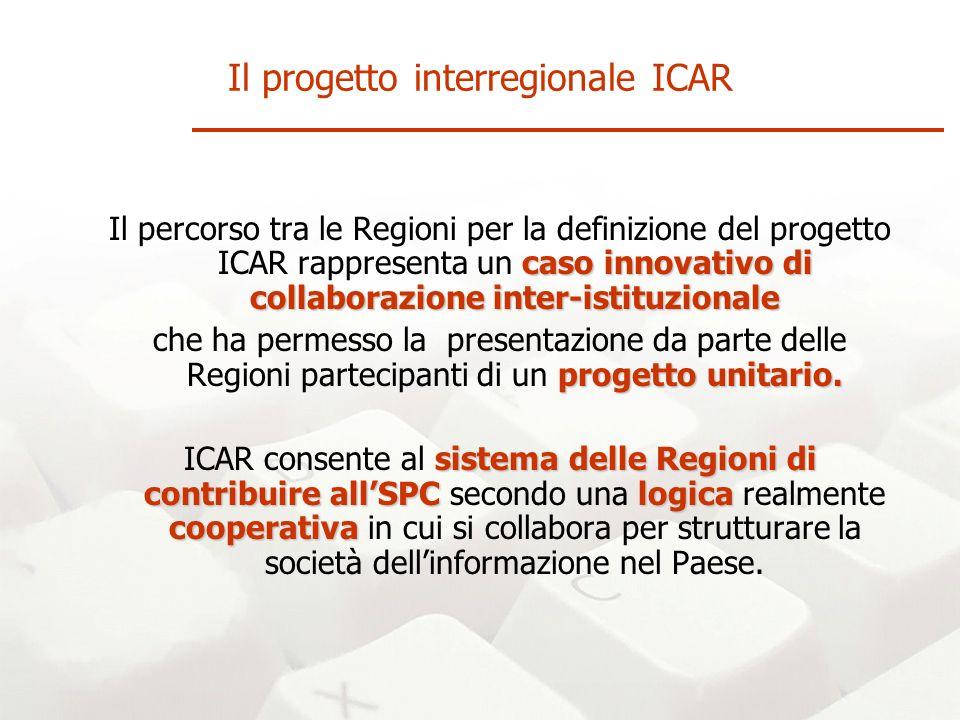 caso innovativo di collaborazione inter-istituzionale Il percorso tra le Regioni per la definizione del progetto ICAR rappresenta un caso innovativo di collaborazione inter-istituzionale progettounitario.
