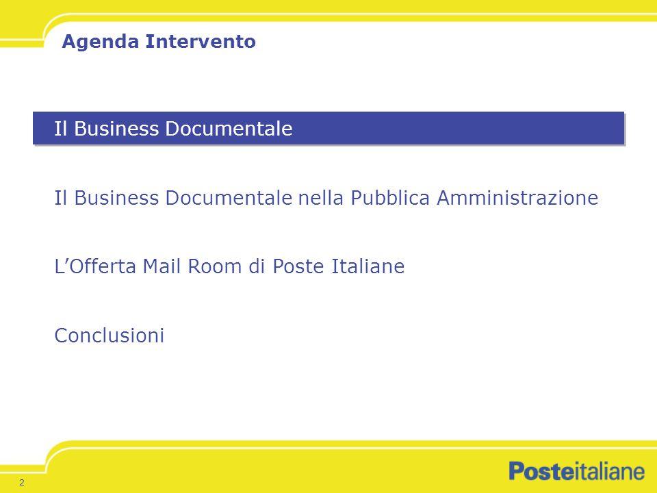 2 Il Business Documentale Il Business Documentale nella Pubblica Amministrazione LOfferta Mail Room di Poste Italiane Conclusioni Agenda Intervento