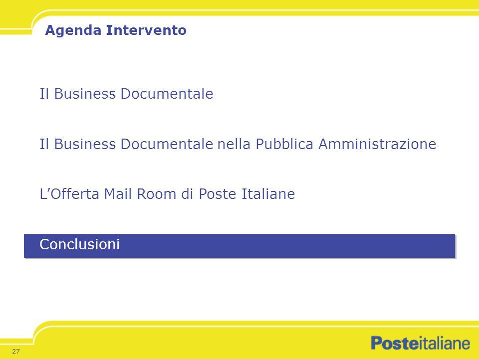 27 Il Business Documentale Il Business Documentale nella Pubblica Amministrazione LOfferta Mail Room di Poste Italiane Conclusioni Agenda Intervento