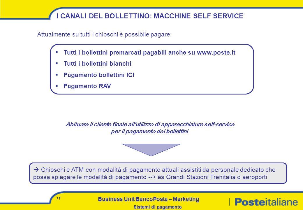 Business Unit BancoPosta – Marketing Sistemi di pagamento 10 I CANALI DEL BOLLETTINO: ATM 400.000 Bollettini incassati da ATM nel 2006 Il servizio di