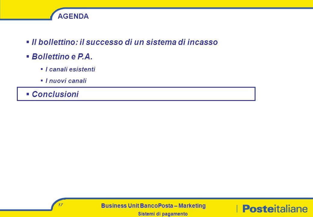 Business Unit BancoPosta – Marketing Sistemi di pagamento 16 La realizzazione di collegamenti diretti con i grandi clienti, come la P.A., permette di