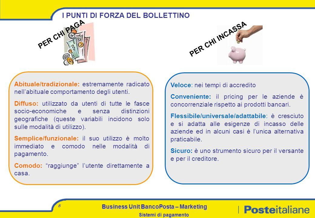 Business Unit BancoPosta – Marketing Sistemi di pagamento 4 COMPORTAMENTI DUSO DEL BOLLETTINO Quasi il 40% degli Italiani preferisce pagare con il bol