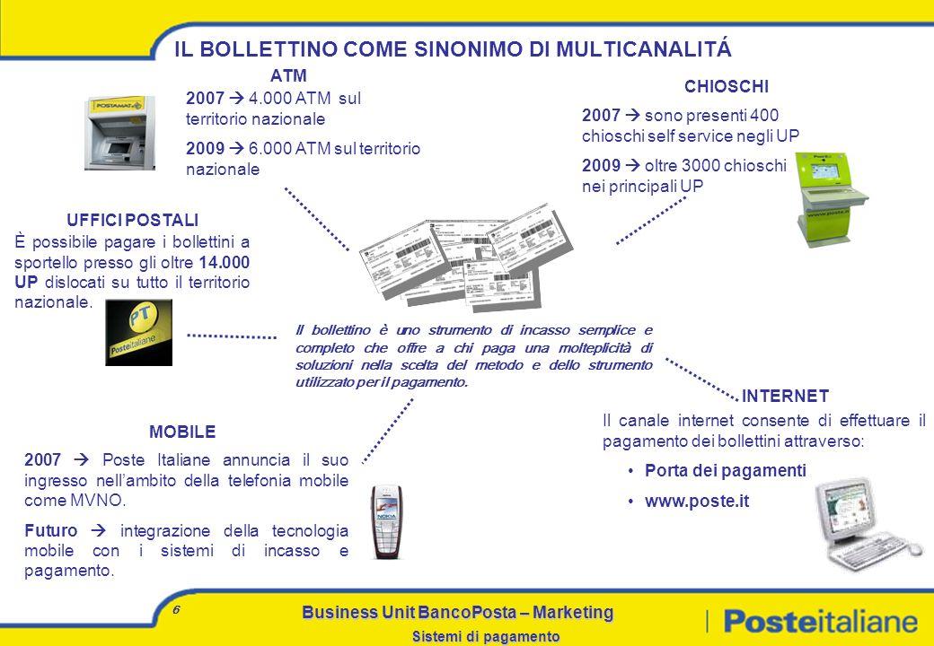 Business Unit BancoPosta – Marketing Sistemi di pagamento 16 La realizzazione di collegamenti diretti con i grandi clienti, come la P.A., permette di stabilire un dialogo costante tra loro e Poste Italiane, a salvaguardia delle relazioni e dei prodotti che ne beneficiano.