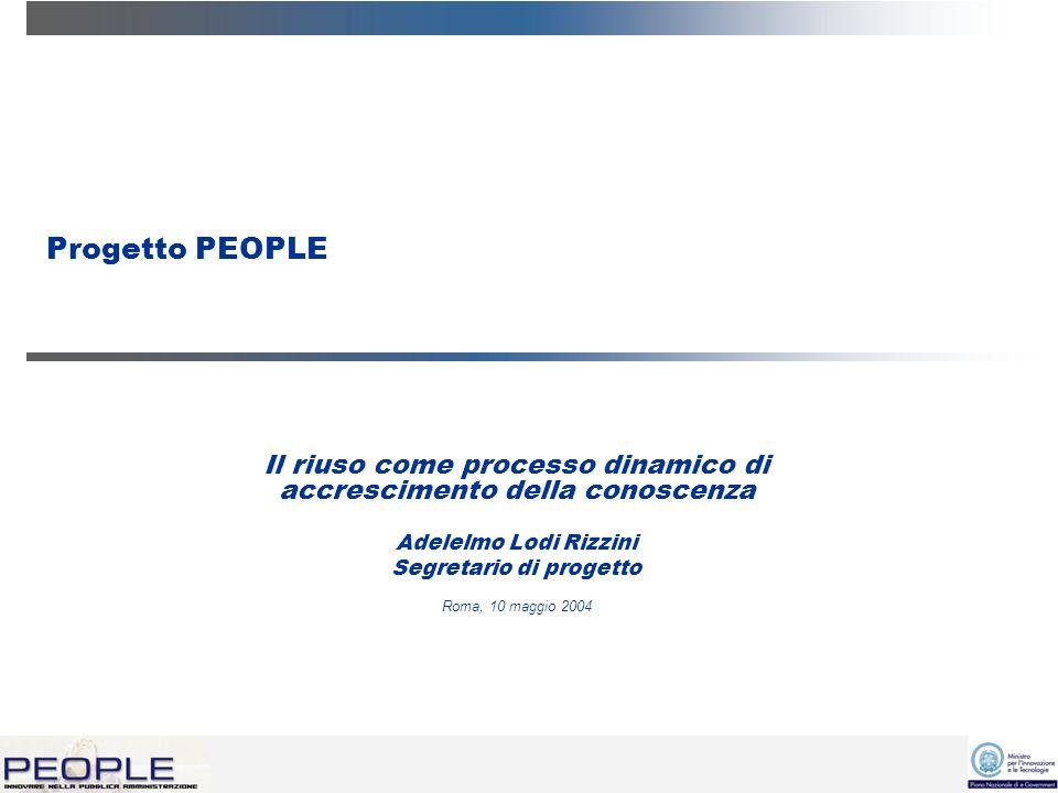 Progetto PEOPLE Il riuso come processo dinamico di accrescimento della conoscenza Adelelmo Lodi Rizzini Segretario di progetto Roma, 10 maggio 2004