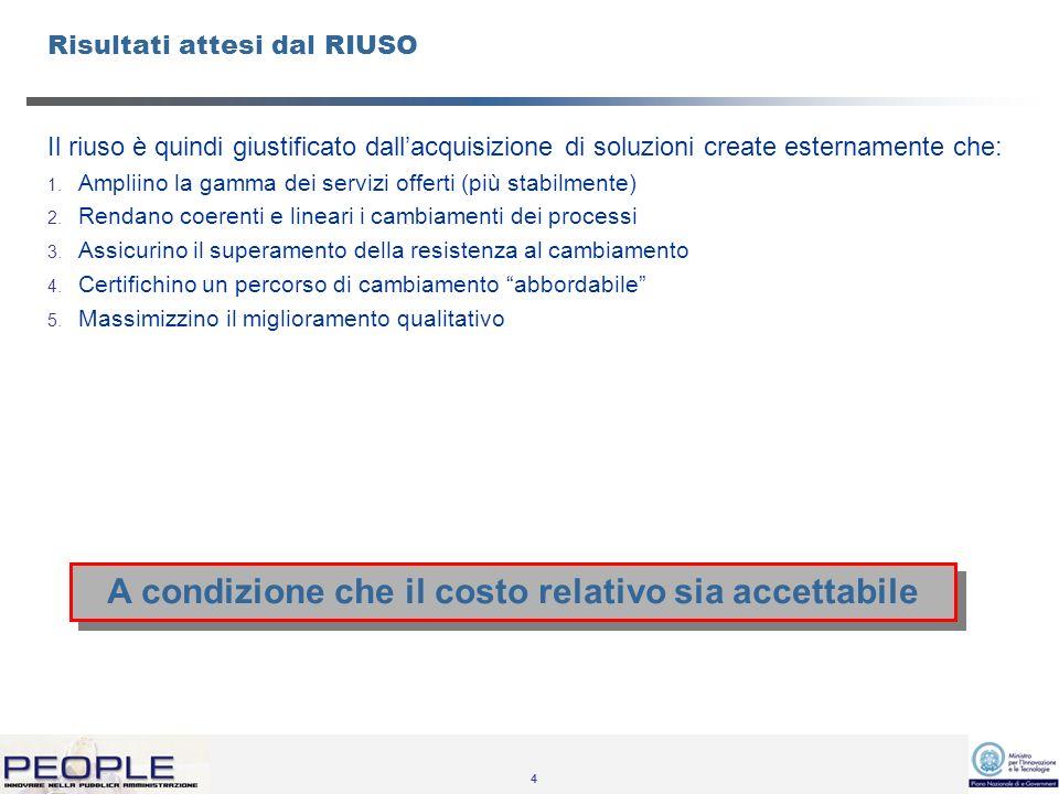 4 Risultati attesi dal RIUSO Il riuso è quindi giustificato dallacquisizione di soluzioni create esternamente che: 1.