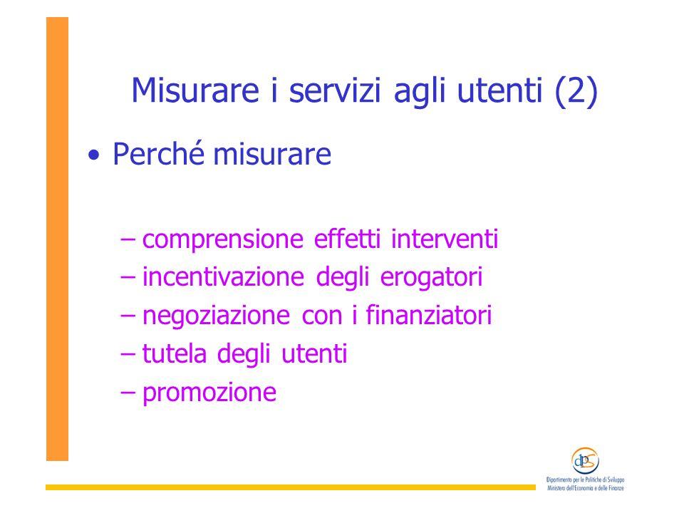 Misurare i servizi agli utenti (2) Perché misurare –comprensione effetti interventi –incentivazione degli erogatori –negoziazione con i finanziatori –tutela degli utenti –promozione
