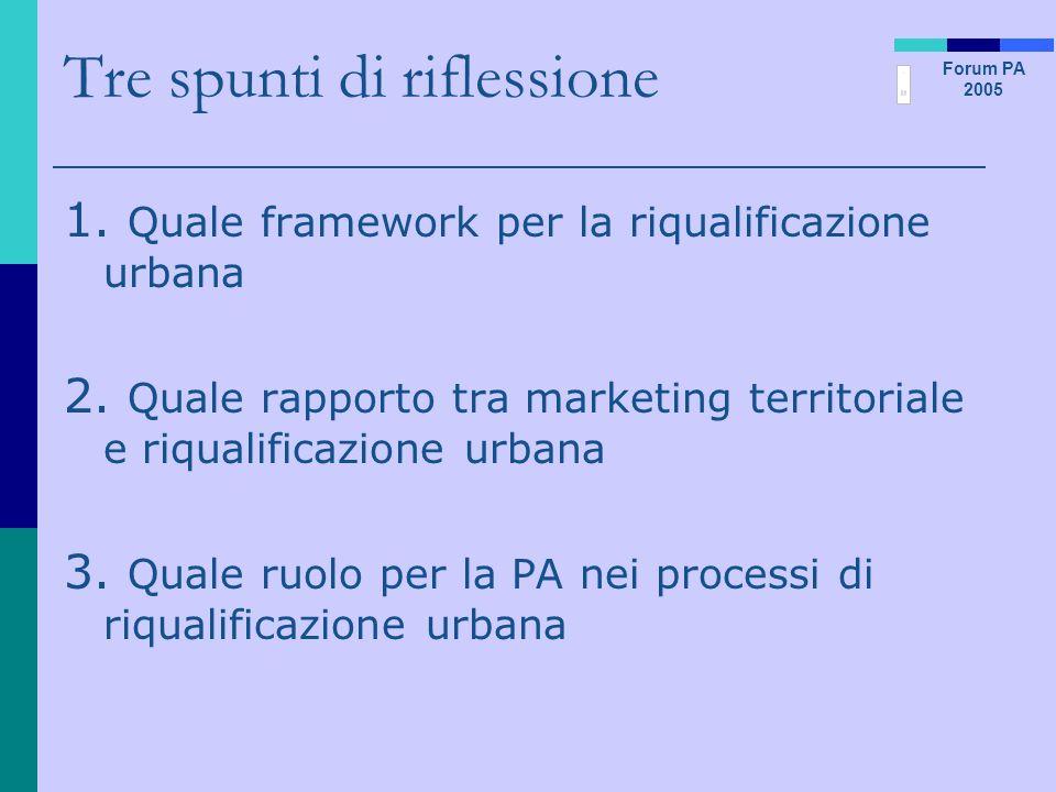 Forum PA 2005 Tre spunti di riflessione 1. Quale framework per la riqualificazione urbana 2. Quale rapporto tra marketing territoriale e riqualificazi