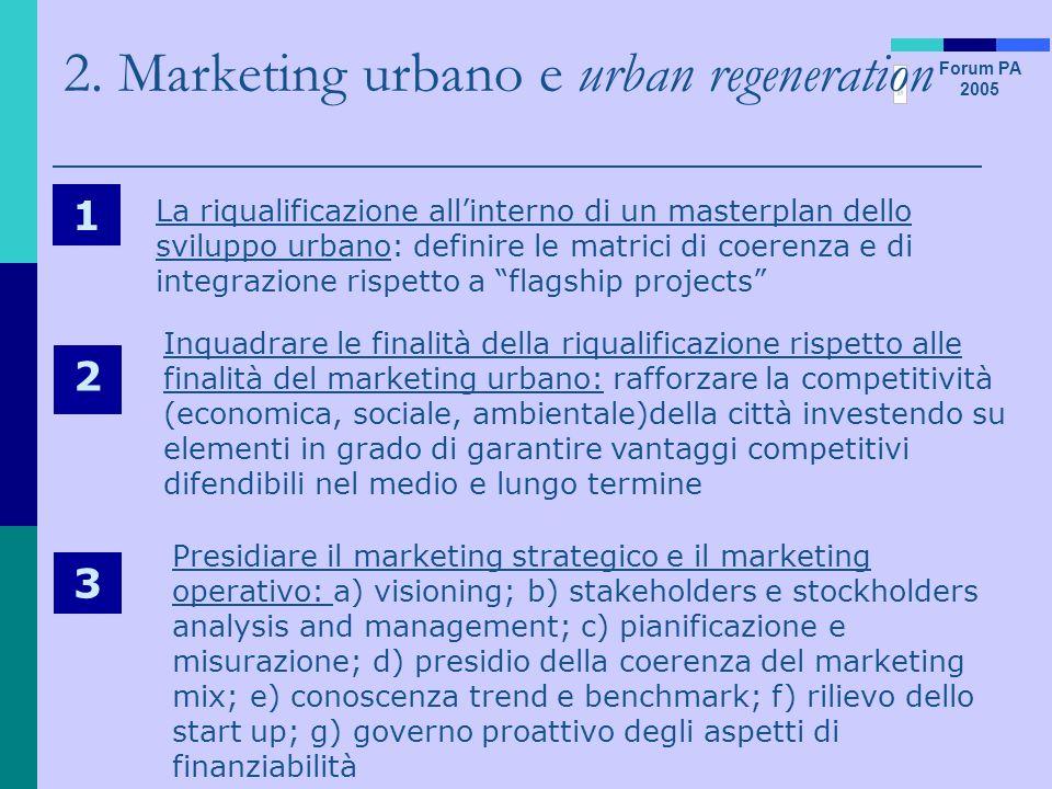 Forum PA 2005 2. Marketing urbano e urban regeneration 1 La riqualificazione allinterno di un masterplan dello sviluppo urbano: definire le matrici di