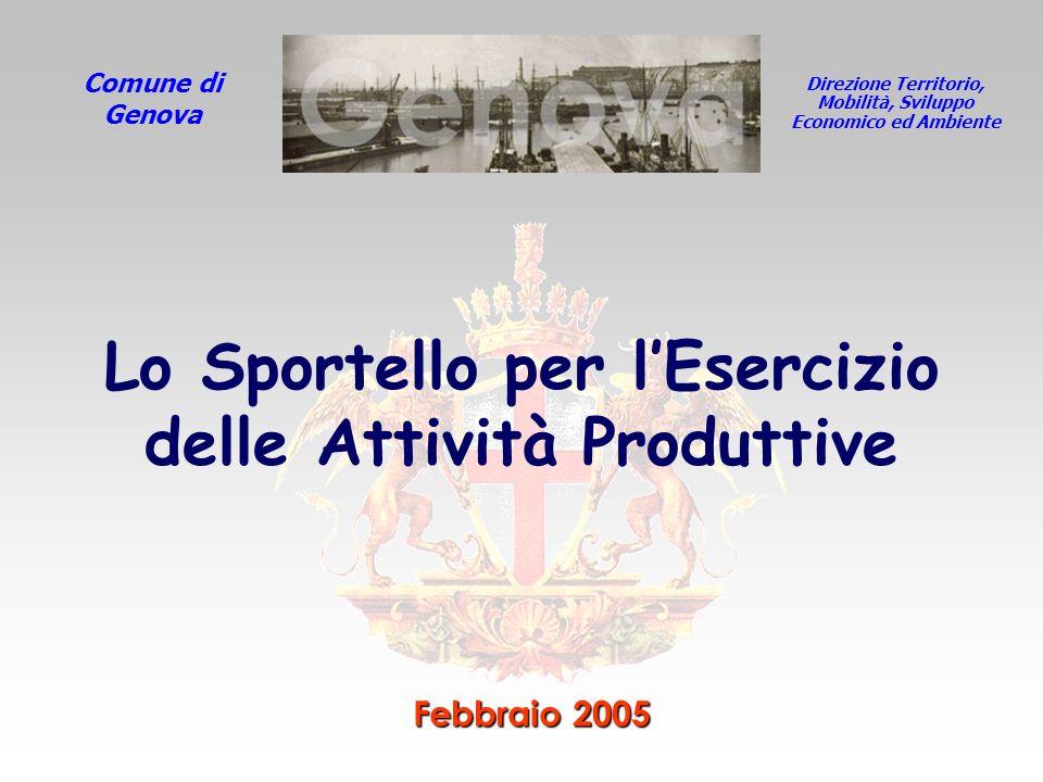 Direzione Territorio, Mobilità, Sviluppo Economico ed Ambiente Comune di Genova Febbraio 2005 Lo Sportello per lEsercizio delle Attività Produttive