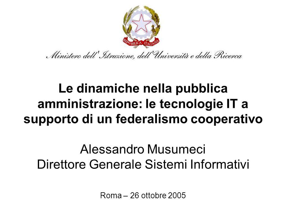 Le dinamiche nella pubblica amministrazione: le tecnologie IT a supporto di un federalismo cooperativo Alessandro Musumeci Direttore Generale Sistemi