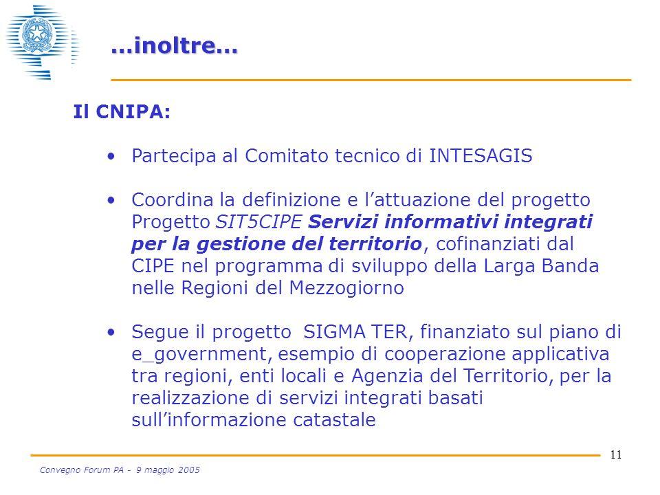 11 Convegno Forum PA - 9 maggio 2005 Il CNIPA: Partecipa al Comitato tecnico di INTESAGIS Coordina la definizione e lattuazione del progetto Progetto SIT5CIPE Servizi informativi integrati per la gestione del territorio, cofinanziati dal CIPE nel programma di sviluppo della Larga Banda nelle Regioni del Mezzogiorno Segue il progetto SIGMA TER, finanziato sul piano di e_government, esempio di cooperazione applicativa tra regioni, enti locali e Agenzia del Territorio, per la realizzazione di servizi integrati basati sullinformazione catastale …inoltre…