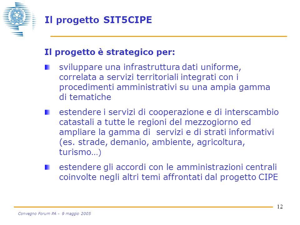 12 Convegno Forum PA - 9 maggio 2005 Il progetto è strategico per: sviluppare una infrastruttura dati uniforme, correlata a servizi territoriali integrati con i procedimenti amministrativi su una ampia gamma di tematiche estendere i servizi di cooperazione e di interscambio catastali a tutte le regioni del mezzogiorno ed ampliare la gamma di servizi e di strati informativi (es.