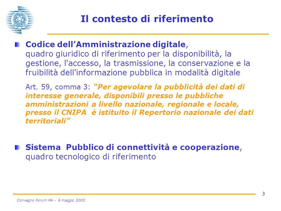 3 Convegno Forum PA - 9 maggio 2005 Il contesto di riferimento Codice dellAmministrazione digitale, quadro giuridico di riferimento per la disponibilità, la gestione, l accesso, la trasmissione, la conservazione e la fruibilità dell informazione pubblica in modalità digitale Art.