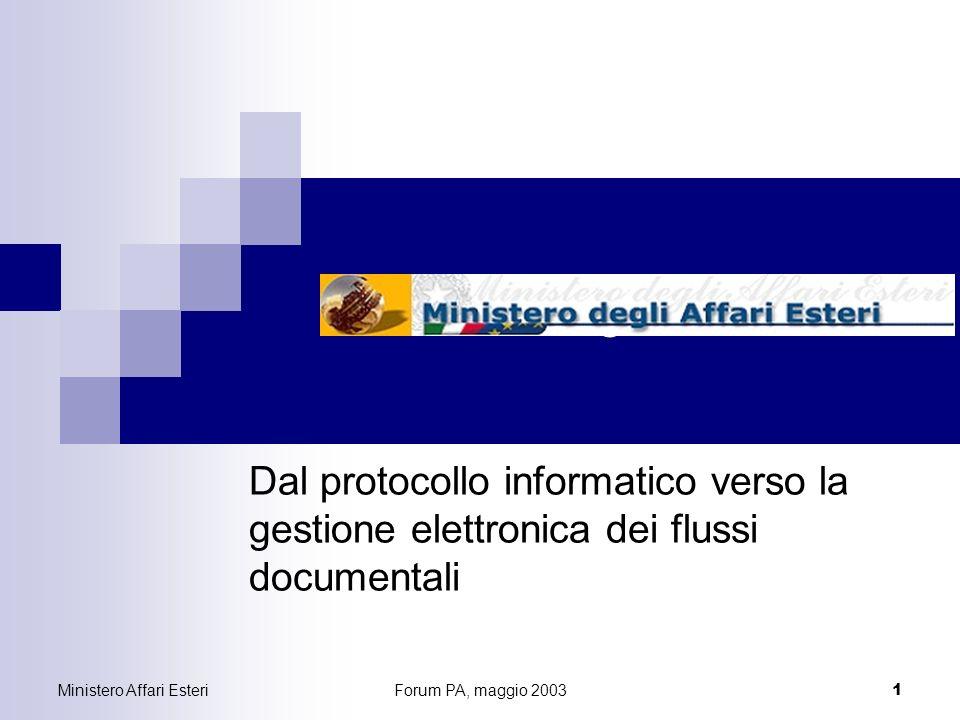 Ministero Affari EsteriForum PA, maggio 2003 1 Ministero degli Affari Esteri Dal protocollo informatico verso la gestione elettronica dei flussi documentali