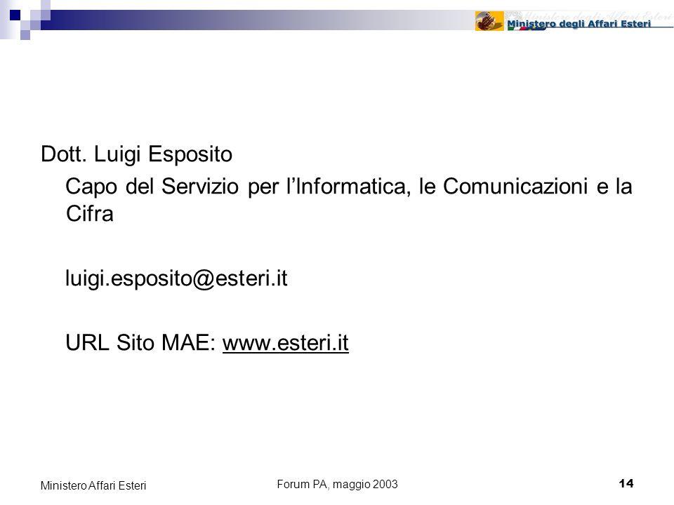 Forum PA, maggio 200314 Ministero Affari Esteri Dott.