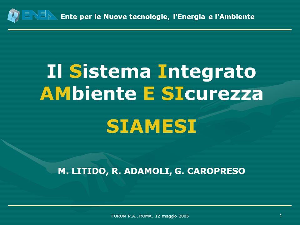 Ente per le Nuove tecnologie, l'Energia e l'Ambiente FORUM P.A., ROMA, 12 maggio 2005 1 Il Sistema Integrato AMbiente E SIcurezza SIAMESI M. LITIDO, R