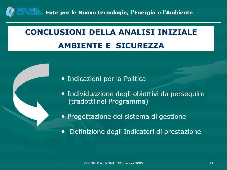 Ente per le Nuove tecnologie, l'Energia e l'Ambiente FORUM P.A., ROMA, 12 maggio 2005 11 CONCLUSIONI DELLA ANALISI INIZIALE AMBIENTE E SICUREZZA Indic