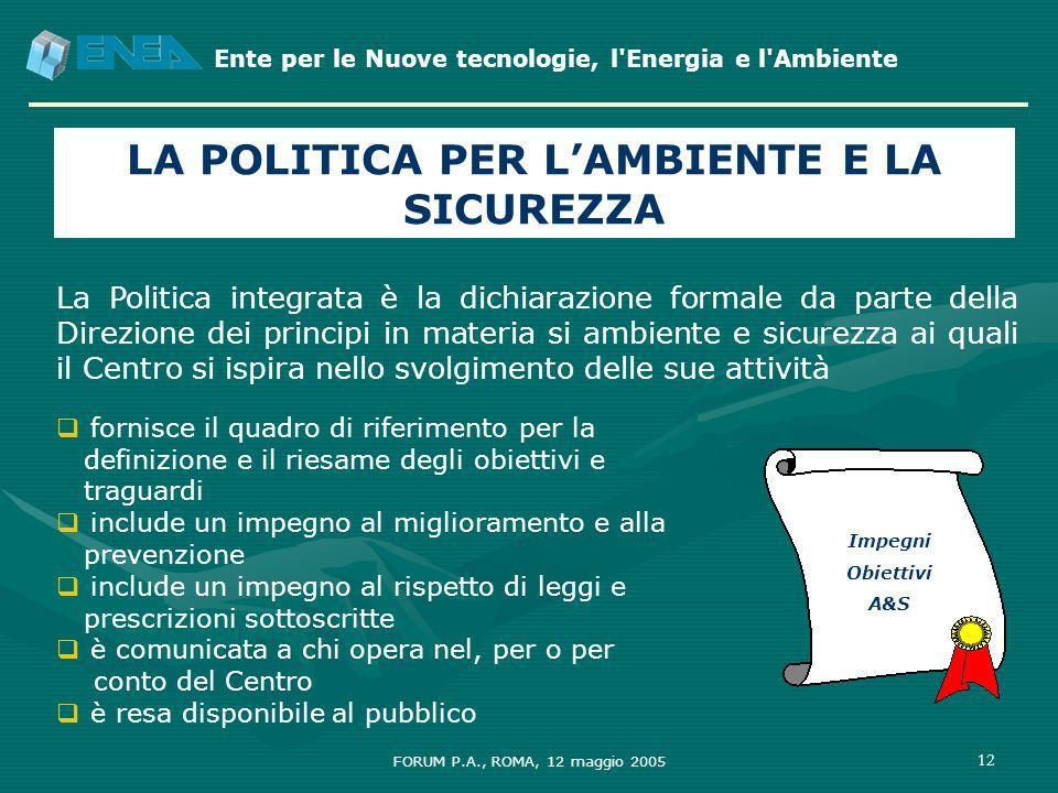 Ente per le Nuove tecnologie, l'Energia e l'Ambiente FORUM P.A., ROMA, 12 maggio 2005 12 LA POLITICA PER LAMBIENTE E LA SICUREZZA La Politica integrat