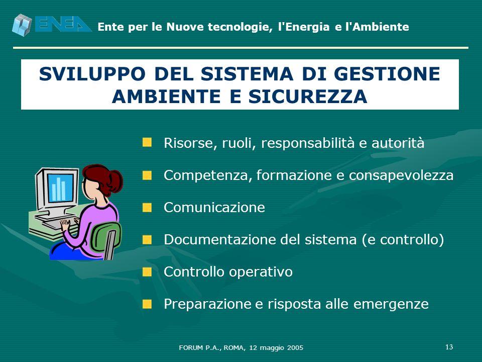 Ente per le Nuove tecnologie, l'Energia e l'Ambiente FORUM P.A., ROMA, 12 maggio 2005 13 SVILUPPO DEL SISTEMA DI GESTIONE AMBIENTE E SICUREZZA Risorse