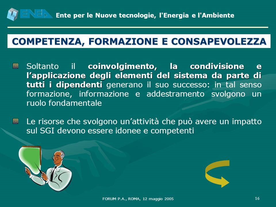 Ente per le Nuove tecnologie, l'Energia e l'Ambiente FORUM P.A., ROMA, 12 maggio 2005 16 COMPETENZA, FORMAZIONE E CONSAPEVOLEZZA coinvolgimento, la co