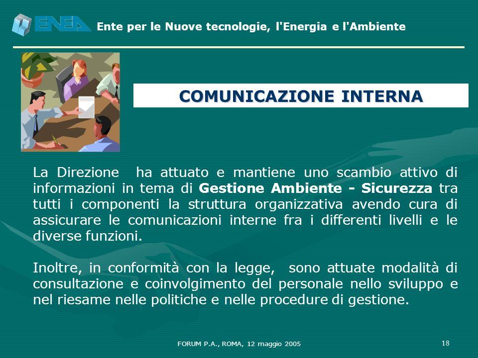 Ente per le Nuove tecnologie, l'Energia e l'Ambiente FORUM P.A., ROMA, 12 maggio 2005 18 La Direzione ha attuato e mantiene uno scambio attivo di info
