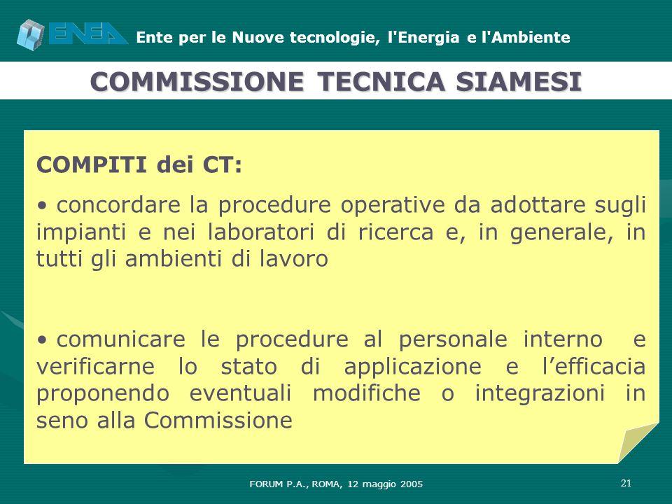 Ente per le Nuove tecnologie, l'Energia e l'Ambiente FORUM P.A., ROMA, 12 maggio 2005 21 COMPITI dei CT: concordare la procedure operative da adottare